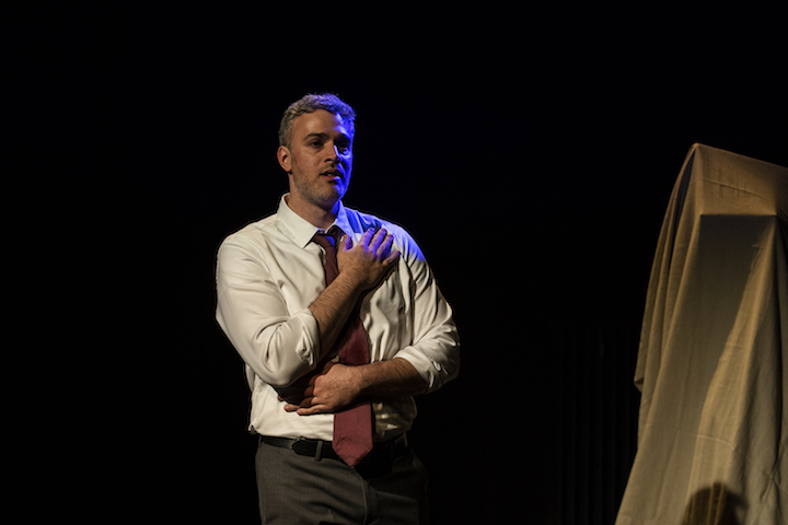 Jordan Kaplan as Frank in Hunger & Thirst Theatre's Strangers in the Night_photo by Al Foote III